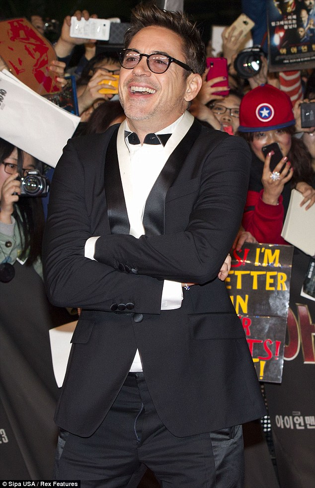 Coming undone: Robert forgot to zip his fly before hitting the red carpet for the premiere of Iron Man 3 in Seoul, South Korea on April 4