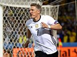 LILLE, FRANCE - JUNE 12:  Bastian Schweinsteiger of Germany celebrates scoring his team's second goal during the UEFA EURO 2016 Group C match between Germany and Ukraine at Stade Pierre-Mauroy on June 12, 2016 in Lille, France.  (Photo by Clive Mason/Getty Images)