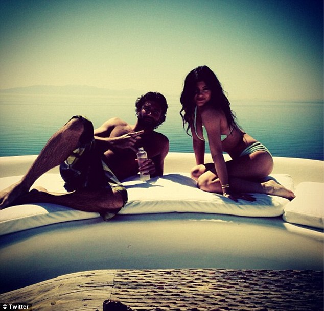 Magic in Mykonos: Older brother Brody posed with step-sister Kylie, writing: 'Family time is the best'