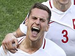 Poland's Arkadiusz Milik celebrates after scoring the opening goal during the Euro 2016 Group C soccer match between Poland and Northern Ireland, at the Allianz Riviera stadium, in Nice, France, Sunday, June 12, 2016. (AP Photo/Claude Paris)