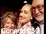 Gwen stefani is at her mom and dads 50th annversary wedding celebrating at KnottsBerry Farm