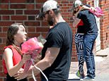 *EXCLUSIVE* New York, NY - The Jackman family supports Ava at her recital where Hugh tries his skills on a skateboard. Hugh brings flowers to her along with a hug. Hugh Jackman and Oscar Jackman stops by Laughing Man Coffee & Tea before attending a dance recital for Ava Jackman in Tribeca. \nAKM-GSI       June 12, 2016\nTo License These Photos, Please Contact :\nMaria Buda\n(917) 242-1505\nmbuda@akmgsi.com\nsales@akmgsi.com\nMark Satter\n(317) 691-9592\nmsatter@akmgsi.com\nsales@akmgsi.com\nwww.akmgsi.com