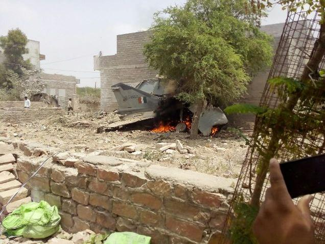 The MiG 27 after it crashed in a residential area close to the air base in Jodhpur on Monday. Photo courtesy: Ministry of Defence
