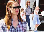 """Exclusive... 52091165 Actress and busy mom Jennifer Garner was spotted out with her daughters in Beverly Hills, California on June 13, 2016.  The girls were carrying books and Violet Affleck had a book that says """"Baby's First Year for Dummies"""". Afterwards, the group went to grab some ice cream.  Jennifer has been in a heated issue between her estranged husband Ben Affleck.  There have been articles explaining how the actress is demanding to be paid $75 million in the divorce settlement. (Radar) FameFlynet, Inc - Beverly Hills, CA, USA - +1 (310) 505-9876"""