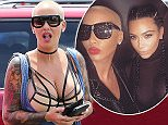 *EXCLUSIVE* Canoga Park, CA - Amber Rose and a friend arrive in her pink Jeep for lunch together at The Cheesecake Factory in Canoga Park, California. The model wore oversized denim overalls with a strappy bra and black boots.   AKM-GSI    June  10, 2016 To License These Photos, Please Contact : Maria Buda (917) 242-1505 mbuda@akmgsi.com sales@akmgsi.com or  Mark Satter (317) 691-9592 msatter@akmgsi.com sales@akmgsi.com www.akmgsi.com
