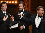 NEW YORK, NY - JUNE 12:  Presenter Sean Hayes and Jake Gyllenhaal speak onstage with host James Corden during the 70th Annual Tony Awards at The Beacon Theatre on June 12, 2016 in New York City.  (Photo by Theo Wargo/Getty Images for Tony Awards Productions)