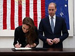 The Duchess of Cambridge signs a book of condolence for Orlando shooting victims at the US Embassy in London, while the Duke of Cambridge looks on. PRESS ASSOCIATION Photo. Picture date: Tuesday June 14, 2016. See PA story POLICE Pulse. Photo credit should read: Philip Toscano/PA Wire