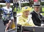 THE QUEEN GIVES THE HORSES THE THUMB'S UP IN THE PARADE RING AT ASCOT. PICTURE MURRAY SANDERS DAILY MAIL