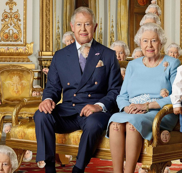 A closer view of the doctored image shows the Queen's face on furniture, on the gold decoration on the wall and peeping out from behind the sofa and chair