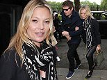 LONDON, ENGLAND - JUNE 13:  Kate Moss and Nikolai Von Bismarck seen arriving to the Coach s/s17 Catwalk Show at Lindley Hall on June 13, 2016 in London, England.  (Photo by Neil Mockford/Alex Huckle/GC Images)