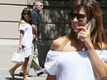 New York, NY - Alec Baldwin and pregnant wife Hilaria Thomas enjoy a walk in Manhattan. The pregnant mother of two wore a white maternity dress showing off her huge bump and flip-flops.\nAKM-GSI       June  13, 2016\nTo License These Photos, Please Contact :\nMaria Buda\n(917) 242-1505\nmbuda@akmgsi.com\nsales@akmgsi.com\nor \nMark Satter\n(317) 691-9592\nmsatter@akmgsi.com\nsales@akmgsi.com\n