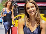 Jessica Alba is all smiles wearing a blue silk dress as she enjoys the day on the High Line Park in NYC. She went shopping at Story for new funky light up shoes after taking a walk with her friends at the High Line Park.\n\nPictured: Jessica Alba\nRef: SPL1301591  140616  \nPicture by: JENY / Splash News\n\nSplash News and Pictures\nLos Angeles: 310-821-2666\nNew York: 212-619-2666\nLondon: 870-934-2666\nphotodesk@splashnews.com\n