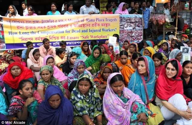 Support: Liz Jones (front row right) pictured at a protest for justice and compensation for rana plaza victims' families and the injured