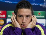 Manchester City's Samir Nasri during a press conference in Manchester ahead of their Champions League match against Barcelona.
