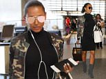 Mel B looks fashionable in her camouflage jacket and black dress with grey heels as she jets out of LAX airport in Los Angeles, CA  Pictured: Mel B Ref: SPL1303119  160616   Picture by: iPix211/London Ent/Splash News  Splash News and Pictures Los Angeles: 310-821-2666 New York: 212-619-2666 London: 870-934-2666 photodesk@splashnews.com
