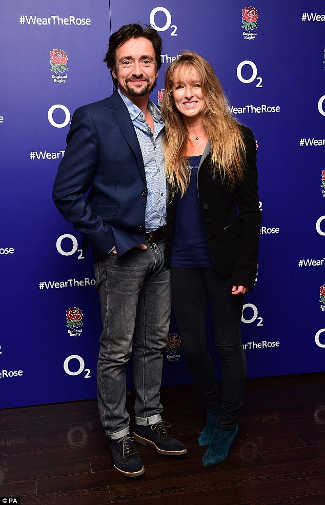 It takes two: Richard Hammond and his wife Mindy cuddled up at the celebratory event held at the iconic London venue