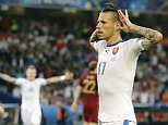 Slovakia's Marek Hamsik during the Euro 2016 Group B soccer match between Russia and Slovakia at the Pierre Mauroy stadium in Villeneuve díAscq, near Lille, France, Wednesday, June 15, 2016. (AP Photo/Frank Augstein)