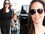 June 17, 2016: Angelina Jolie, along with sons Knox Jolie-Pitt and Maddox Jolie-Pitt, and her brother, James Haven, arrives at LAX airport in Los Angeles, California to catch a flight to NYC.\nMandatory Credit: INFphoto.com Ref: inf-00