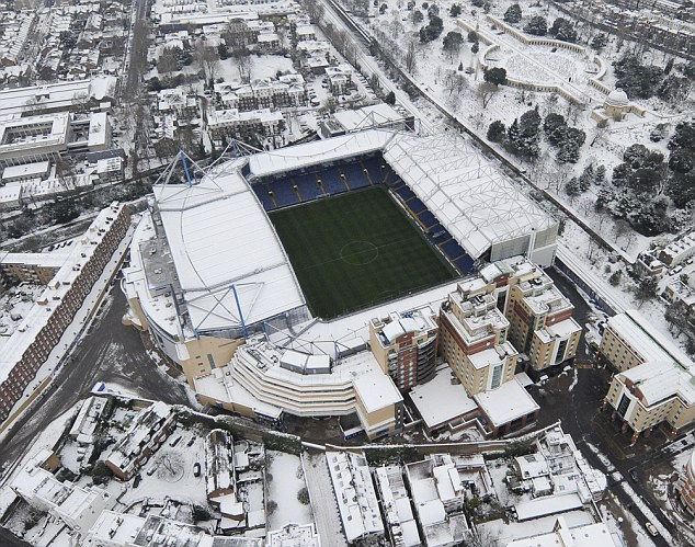 An island of green: Chelsea's Stamford Bridge pitch offers the only visible grass for miles