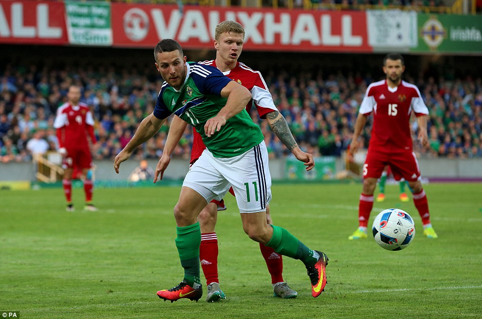 Northern Ireland's Conor Washington looks to shield the ball from Nikita Korzun as the home side took the game to their opponents