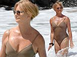 Picture Shows: Goldie Hawn  June 16, 2016\n \n Actress Goldie Hawn, Wyatt Russell & Sanne Hamers are spotted enjoying the day on the beach in Maui, Hawaii. Goldie was sporting a beige one-piece bathing suit as she took a dip in the warm ocean waters.\n \n Non Exclusive\n UK RIGHTS ONLY\n \n Pictures by : FameFlynet UK � 2016\n Tel : +44 (0)20 3551 5049\n Email : info@fameflynet.uk.com