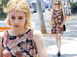 West Hollywood, CA - Emma Robert's shoes are too small for her as she grabs a bite at 'Jinpachi' in WeHo.  She was seen walking with the back of her shoes folded down to avoid painful chaffing in the back of her feet.  She was seen in a floral print dress and black dress shoes.\nAKM-GSI       June 17, 2016\nTo License These Photos, Please Contact :\nMaria Buda\n(917) 242-1505\nmbuda@akmgsi.com\nsales@akmgsi.com\nMark Satter\n(317) 691-9592\nmsatter@akmgsi.com\nsales@akmgsi.com\nwww.akmgsi.com