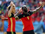 Belgium's Romelu Lukaku celebrates scoring his side's third goal of the game with Axel Witsel (left) during the UEFA Euro 2016, Group E match at the Stade de Bordeaux, Bordeaux. PRESS ASSOCIATION Photo. Picture date: Saturday June 18, 2016. See PA story SOCCER Republic. Photo credit should read: Martin Rickett/PA Wire. RESTRICTIONS: Use subject to restrictions. Editorial use only. Book and magazine sales permitted providing not solely devoted to any one team/player/match. No commercial use. Call +44 (0)1158 447447 for further information.