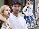 06/17/2016\nEXCLUSIVE: Patrick Schwarzenegger gets close with girlfriend of three months Abby Champion in New York City. In a rare east coast sighting the pair put on a public display of affection after meeting up with a pal while shopping on NYC's ritzy Upper East Side. Patrick wore a torn tee shirt and blue jeans while his 19 year old model girlfriend wore a similar outfit of blue jeans teamed with an off-white hoody. The couple definitely had the look of love as they strolled down Madison Avenue together.\nPlease byline:TheImageDirect.com\n*EXCLUSIVE PLEASE EMAIL sales@theimagedirect.com FOR FEES BEFORE USE