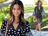West Hollywood, CA - Jamie Chung looks festive in floral print for Summer as she smiles and strolls down the street in a Suno floral printed dress. AKM-GSI          June 16, 2016 To License These Photos, Please Contact : Maria Buda (917) 242-1505 mbuda@akmgsi.com sales@akmgsi.com or  Mark Satter (317) 691-9592 msatter@akmgsi.com sales@akmgsi.com www.akmgsi.com