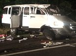 """Crash in Virginia  Six people, including a child, were killed and 10 people were hurt when the van they were riding in overturned multiple times on I-95 in Caroline County early Saturday morning.  The Dodge van was traveling north when it ran off the road to the left, then swerved right across two travel lanes before hitting a Toyota Camry, Virginia State Police spokesman Sgt. Steve Vick said.  """"After impact the Toyota spun out in the road, the Dodge van continued off the road to the right over correcting back left and overturning approximately five to six times,"""" Vick said.  Four men, one woman and a chikd, were thrown from the van and died at the scene, Vick said."""