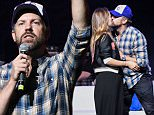 Mandatory Credit: Photo by Stephen Lovekin/REX/Shutterstock (5734462be)\nOlivia Wilde, Jason Sudeikis and Paul Rudd\nBig Slick Party and Auction, Kansas City, USA - 18 Jun 2016\n