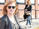 Please contact X17 before any use of these exclusive photos - x17@x17agency.com   PREMIUM EXCLUSIVE - Emma Stone was spotted in Beverly Hills.  The actress appears to have gained a bit of weight lately, with red hair, in a black leather jacket and jeans, on Saturday, June 18, 2016  X17online.com
