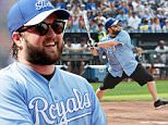 """KANSAS CITY, MO - JUNE 17:  Haley Joel Osment takes a swing during the """"Star Spangled Softball"""" game at Kauffman Stadium during the 2016 Big Slick Celebrity Weekend on June 17, 2016 in Kansas City, Missouri. (Photo by Fernando Leon/Getty Images)"""