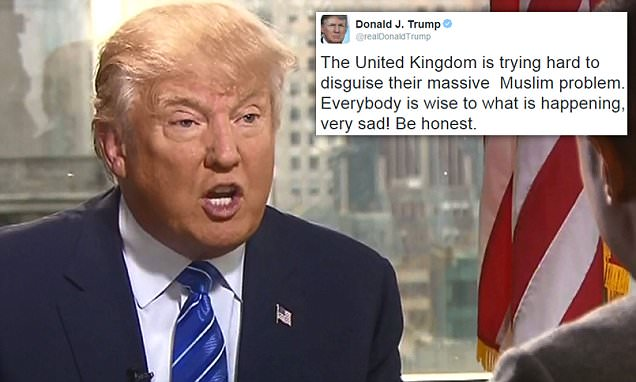Donald Trump responds as 400,000 call for him to be banned from the UK