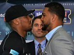 LONDON, ENGLAND - MAY 04:  Anthony Joshua and Dominic Breazeale face off during the Anthony Joshua and Dominic Breazeale Press Conference on May 4, 2016 in London, England.  (Photo by Ben Hoskins/Getty Images)