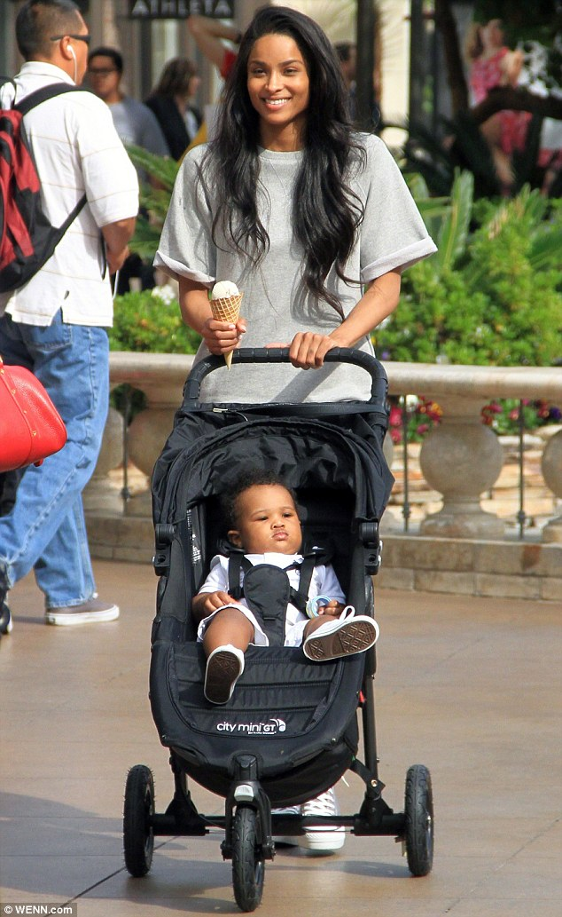 Baby love: The 29-year-old was seen with her son Future during an outing at The Grove in Hollywood in March