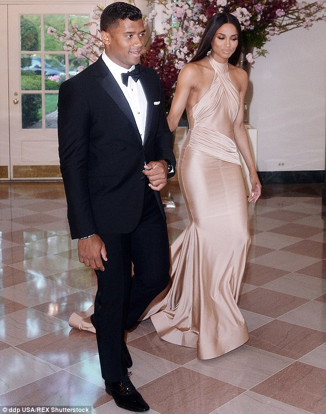 What a gent! The sportsman led Ciara around as she wore a flowing champagne-coloured gown