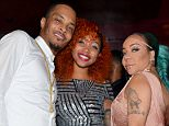 "ATLANTA, GA - JULY 14:  T.I., Zonnique Pullins and Tameka ""Tiny"" Harris attend ""Tiny"" Tameka Harris Celebrity Birthday Affair at Scales 925 Restaurant on July 14, 2015 in Atlanta, Georgia.  (Photo by Prince Williams/WireImage)"
