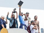 CLEVELAND, OH -  JUNE 20: Kyrie Irving #2, LeBron James #23, Tristan Thompson #13, Kevin Love #0 and J.R. Smith #5 of the Cleveland Cavaliers return to Cleveland after wining the NBA Championships on June 20, 2016 in Cleveland, Ohio. (Photo by Jason Miller/Getty Images)