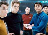 Film: Star Trek (2008) Directed by: J.J. Abrams Starring: On board U.S. S. Kelvin. From left: Chkov ( ANTON YELCHIN), Captain Kirk ( CHRIS PINE), Scotty ( SIMON PEGG),  McCoy (KARL URBAN),  Sulu ( JOHN CHO), and uhura ( ZOE SALDANA). 74018 EDITORIAL USE ONLY