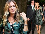 20.June.2016 - New York Ò USA *** STRICTLY AVAILABLE FOR UK AND GERMANY USE ONLY *** New York, NY - Sarah Jessica Parker and husband Matthew Broderick are two peas in a pod as they are seen exiting Harvey Weinstein's home after a dinner party as Matthew is seen matching his green tie to Sarah's satin stylish green dress. BYLINE MUST READ : AKM-GSI-XPOSURE ***UK CLIENTS - PICTURES CONTAINING CHILDREN PLEASE PIXELATE FACE PRIOR TO PUBLICATION *** *UK CLIENTS MUST CALL PRIOR TO TV OR ONLINE USAGE PLEASE TELEPHONE 0208 344 2007*