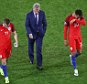 SAINT-ETIENNE, FRANCE - JUNE 20: (L to R) Jamie Vardy, manager Roy Hodgson and Dele Alli of England show their frustration after their scoreless draw in the UEFA EURO 2016 Group B match between Slovakia and England at Stade Geoffroy-Guichard on June 20, 2016 in Saint-Etienne, France.  (Photo by Michael Steele/Getty Images)**BESTPIX**