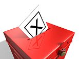 A36R5M Red Labour coloured ballot box with X voting slip in hole in lid.