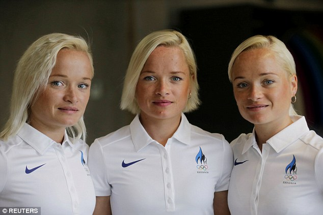 Spot the difference: (L-R) Leila, Liina and Lily Luik pose for a picture in their hometown of Tartu, Estonia