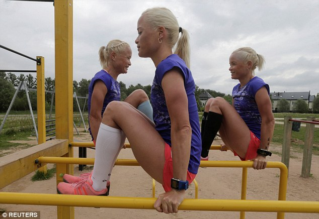 In the spotlight: The sisters from the southern Estonian university town of Tartu, aged 30, have set up a Facebook page called ' Trio to Rio' to gather supporters for their 26.2-mile race