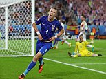 BORDEAUX, FRANCE - JUNE 21: Ivan Perisic of Croatia celebrates scoring his team's second goal during the UEFA EURO 2016 Group D match between Croatia and Spain at Stade Matmut Atlantique on June 21, 2016 in Bordeaux, France.  (Photo by Ian Walton/Getty Images)