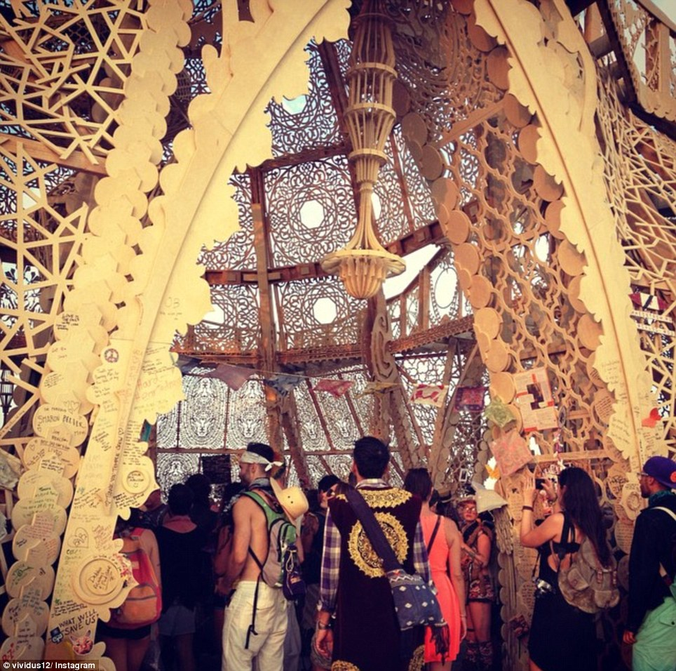 """The Temple of Grace during the Burning Man 2014 """"Caravansary"""" arts and music festival in the Black Rock Desert of Nevada, August 27, 2014"""