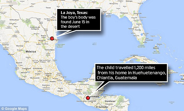 Far from home: Gilberto Francisco Ramos Juarez was found dead a mile from the border