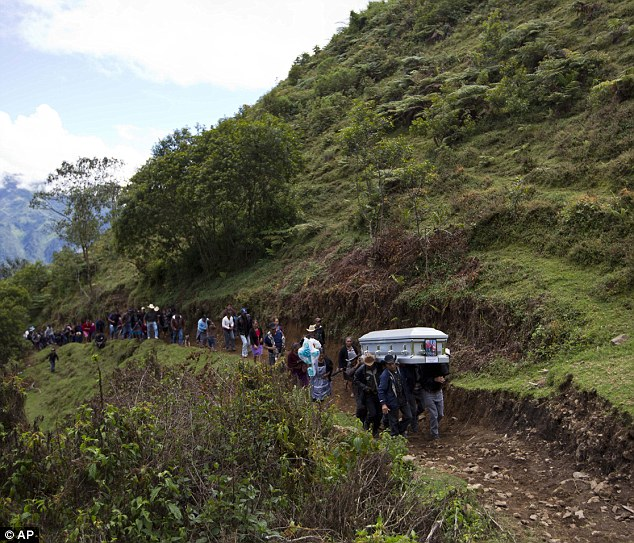 Relatives carry to a local cemetery, the coffin containing the remains of Gilberto Francisco Ramos Juarez, a Guatemalan boy whose decomposed body was found in the Rio Grande Valley of South Texas, in San Jose Las Flores, Guatemala, Saturday, July 12