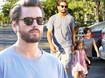 Please contact X17 before any use of these exclusive photos - x17@x17agency.com   Wednesday, June 22, 2016 - Scott Disick is a non-stop family man! The lord takes son Mason and daughter Penelope out for dinner in Calabasas, CA. Kourtney Kardashian's suspected on-again partner sports a distressed blue t-shirt, loose grey athletic shorts and tennis shoes. AZ-Daddy/X17online.com